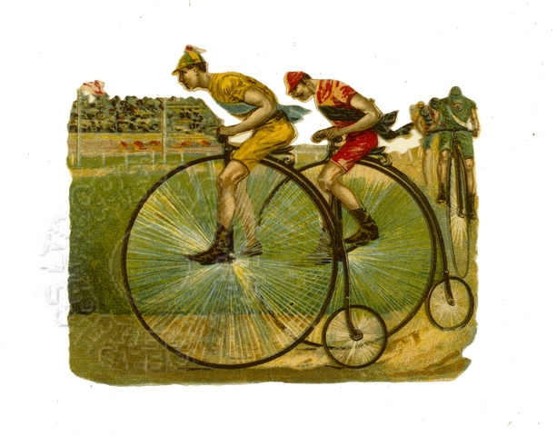 Illustration of penny farthing racers